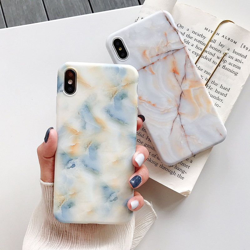 New Matt Marble Case on For Coque iphone 7 XS MAX Case Soft TPU Back Cover For iphone 6 6S 7 8 Plus iphone X XR Case Cover in Half wrapped Cases from Cellphones Telecommunications