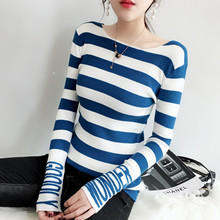 New Fashion Design Colorblock Letter Pattern On Long Sleeve Striped Women Knitted Sweater Female Mujer Jumper Pullover Tops C366