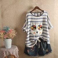 Cute Patch Design Embroidery Cartoon T Shirt Women Girls Harajuku Tops Summer Short Sleeve Cotton Linen Loose Striped Tee Shirt