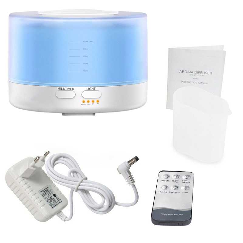 Ue podłącz 500Ml zdalnego sterowania ultradźwiękowy zapachowy nawilżacz powietrza z 7 kolorów doprowadziły światła elektryczne aromaterapia OLEJEK ETERYCZNY aromat D