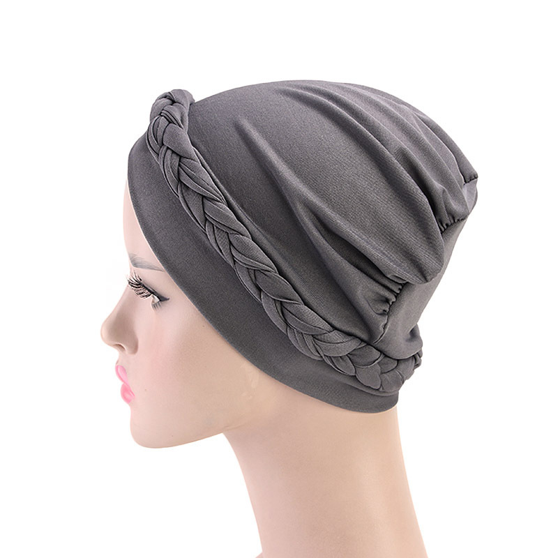 He42bc3182b044c10b08c4a6cfc2f6042W - NEW arrival Retro Women Braid India caps Muslim Cancer Chemo full cover-up  Beanie Hair Loss Turban femme Wrap