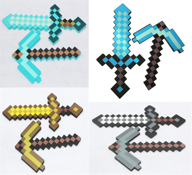 Big Size 61CM Mine crafter Design  Diamond Sword Pickaxe Soft EVA Foam Toy Sword Kids Lovely Toys For World Kids