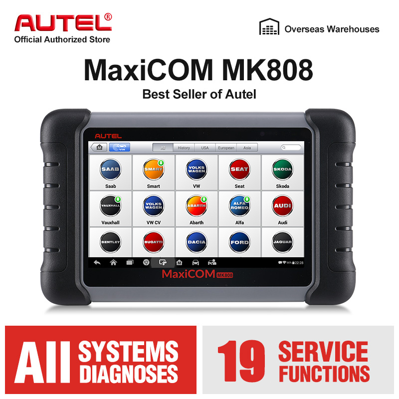Autel MK808 OBD2 Diagnostic Scan Tool Automotive Scanner with Full Systems Diagnoses Oil Reset EPB BMS SAS DPF TPMS Relearn