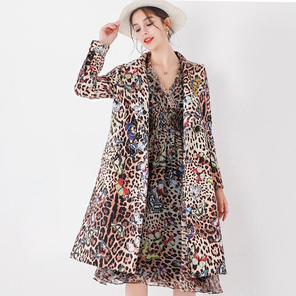 Red RoosaRosee Designer Fashion Leopard Print Diamond Autumn Winter Women Coat 2019 New Vintage Double Breasted Outwear Overcoat