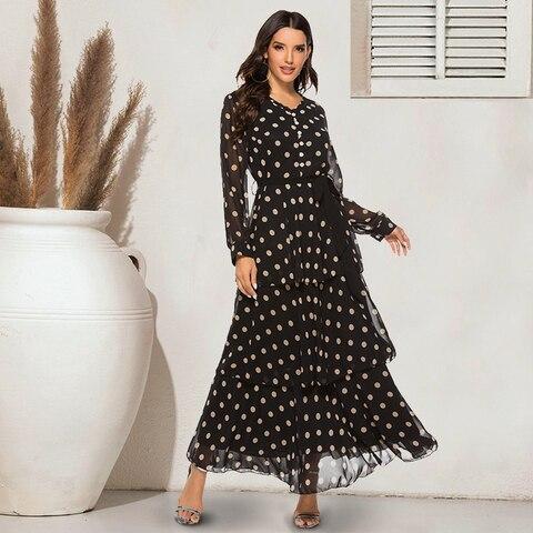 Siskakia Cascading Ruffle Chiffon Long Dress Young Women Fashion Polka Dot Dresses Single-breasted V Neck Long Sleeve Slim Swing Pakistan