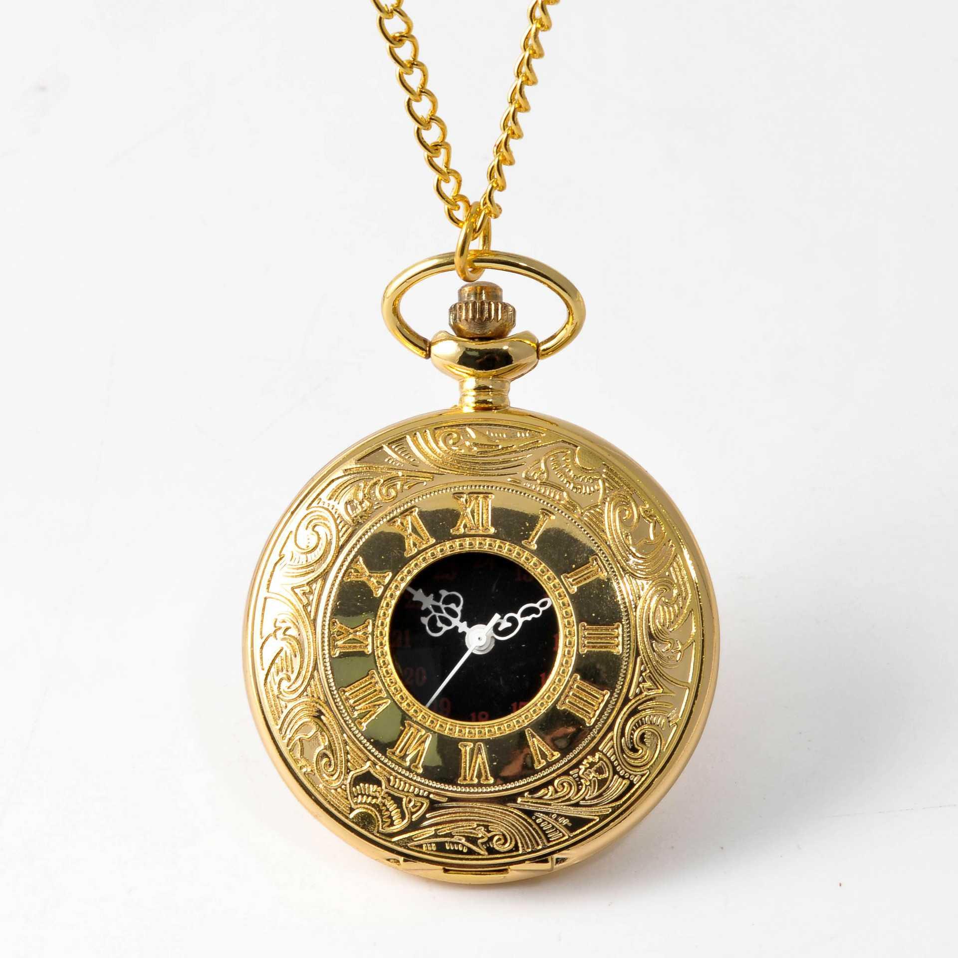 Vintage Gold Roman Steampunk Pocket Watch Quartz Necklace Pocket and Watch Chain Watch Chain Men's and Women's Clock