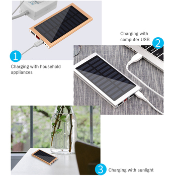 Solar Power Bank External Battery 2 USB LED Powerbank Portable Mobile phone Solar Charger for Xiaomi mi iphone XS 8plus 20000mAH 6