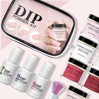 New Dipping Nail Powder Set 2 In 1 Base & Top Gel Natural Dry Activator Brush Saver French Nail Art Kit B