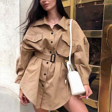 2019 Fashion Autumn Mid-long Trench Coat Women Vintage Khaki Slim Outwear Loose Clothes for Lady with Belt Female Casual Trench(China)