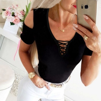 Knitted Shirts Women Summer Lace Up Tops Sexy Knit Blouse Shirts Bandage Elastic Femme Clothes V Neck Off Shoulder Blouses Q30 butterfly printed blouse shirts women sexy v neck ladies tops summer off shoulder sleeveless blouses casual blusas femme d30