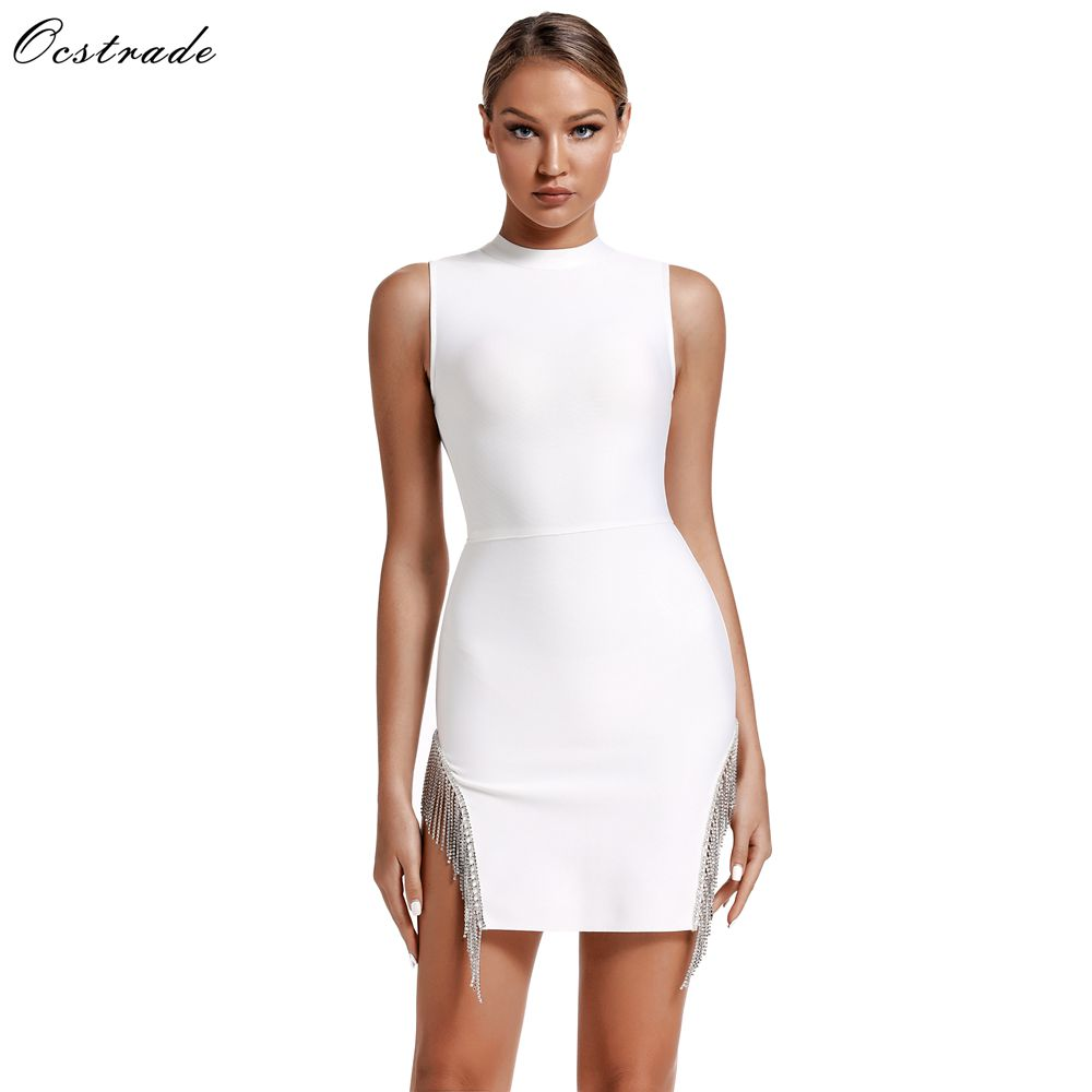 Ocstrade 2020 New Arrival Summer Crystal Trim Bandage Party Dress Sexy White Bandage Dress Women Sleeveless Bodycon Mini Dress