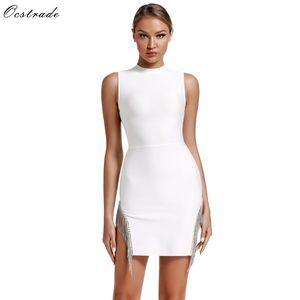Image 1 - Ocstrade Mini robe de soirée à bandes cristal, Sexy, sans manches, moulante, robe femme été 2020 nouveauté