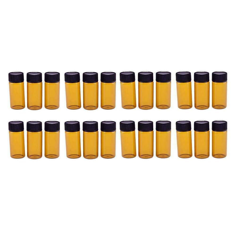 20 piezas 3/5ml ámbar Dram botella de vidrio ámbar Mini botella de aceite esencial vacía frascos de aceite de Perfume botellas de prueba de muestra