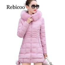 2019 Faux Fur Parkas Women Down Jacket  Plus Size Womens Parkas Thicken Outerwear hooded Winter Coat Female Jacket Cotton padded wmswjh 2017 winter jacket women s coat plus size fur hooded parkas women slim quilted jackets thicken zipper warm outerwear