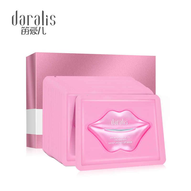 Daralis 10pcs חמוציות לחות שפתיים מסכת שפתיים סרט תיקוני ג 'ל פילינג שפתי משאבת קולגן רפידות נגד קמטים תיקוני