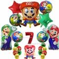 Супер Марио одежда в мультяшном стиле подарок тематические детское шар с алюминиевой пленкой дети костюм Капитана Америка на день рождения...