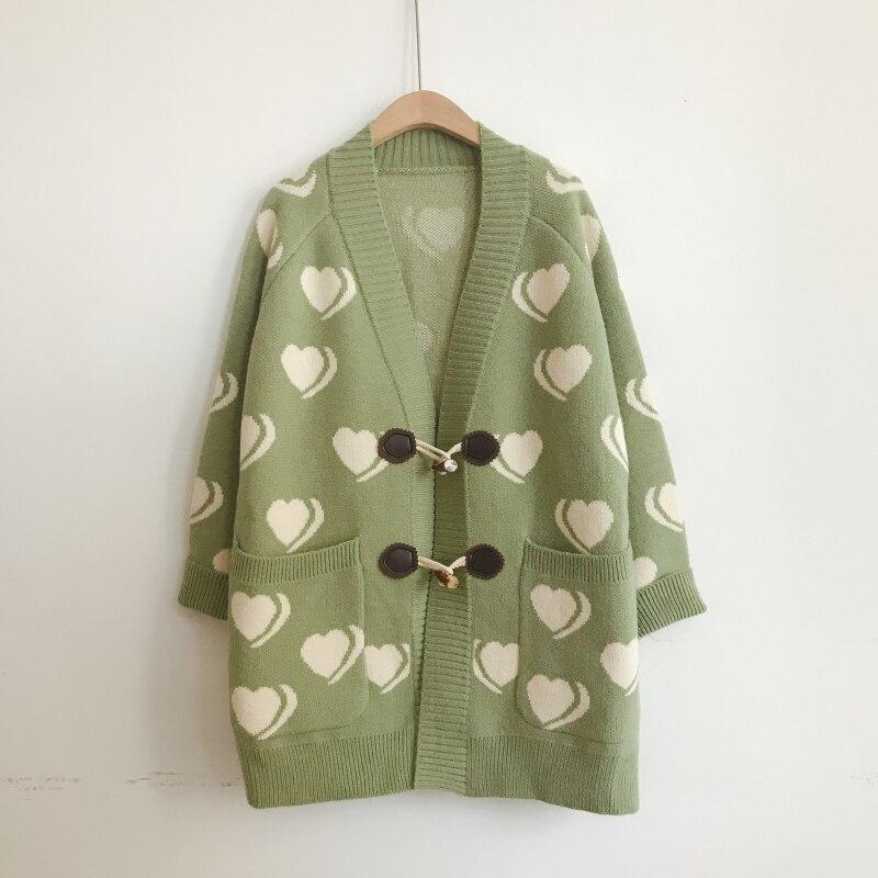 H.SA 2019 Autumn Winter Sweater Coat For Women Open Stitch Sweet Heart Knitted Long Jacket Horn Buckle Warm Long Cardigans