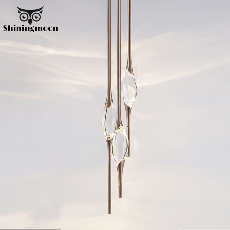 Modern Water Drop Pendant Lights Nordic LED Minimalist Scandinavian Loft Crystal Pendant Lamp Kitchen Barbershop Hanging Lamps