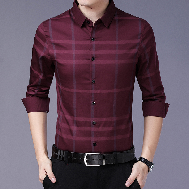 Mens Shirts Casual Slim Fit Long Sleeve Turn-down Collar Plaid Designer Regular Full Dress Shirts Men Clothing 2020 Spring