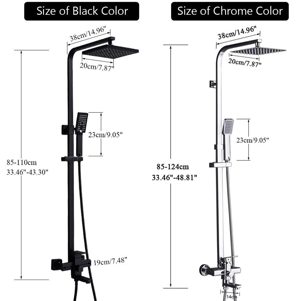 He42d02ebe9f348f9b6a083eb526433d8J POIQIHY Black Bathroom Shower Faucet Set Wall Mount Black 8''Rainfall Shower Head With Handheld Sprayer Bathtub Shower Mixer