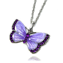 Korea Cute Rhinestone Enamel Butterfly Necklace Pendant Charm Crystal Clavicle Chain Sweater Chain Necklace Jewelry for Women цена 2017