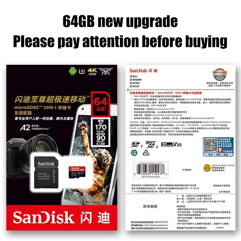 Карта памяти SanDisk Extreme PRO, 128 ГБ, 256 ГБ, 400 ГБ, 64 ГБ, U3, 4K, A2, V30, TF-карта, 32 ГБ, 170 Мб/с, microsd, SDHC, SDXC-5