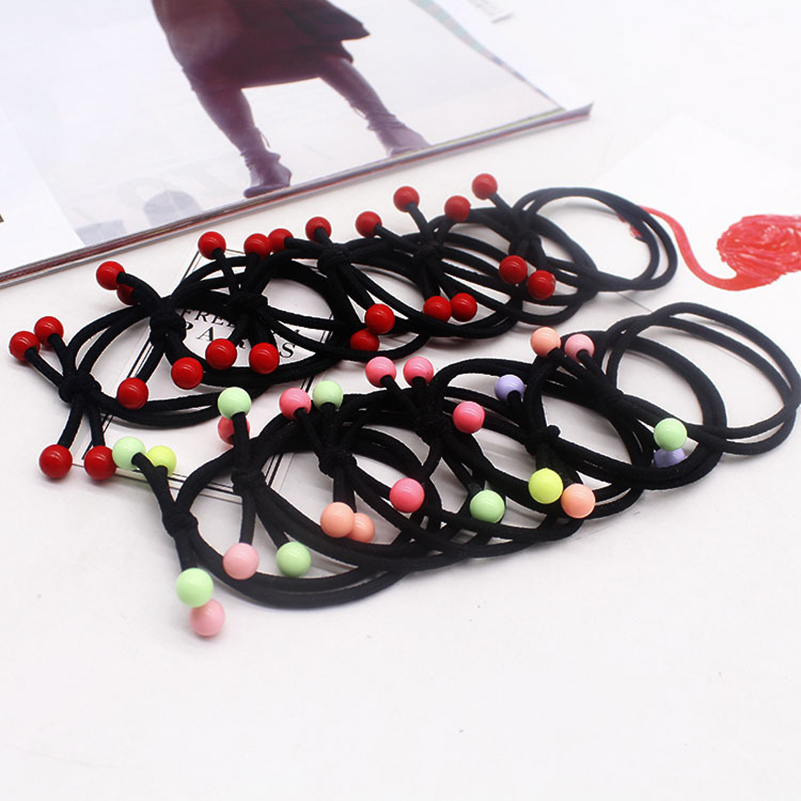 2019 Popular High Elastic Hair Rubber Bands For Girls Colorful Beads Rubber Band For Hair Women Hairs Accessories For Ladies