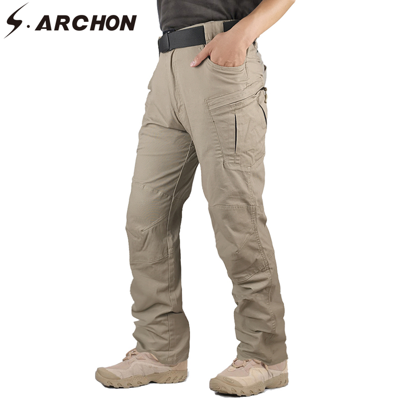 S.ARCHON New IX8 Military Cargo Pants Men Muti-pockets Tactical Trousers Workout Pant Casual Cotton SWAT Army Stretch Pants Male