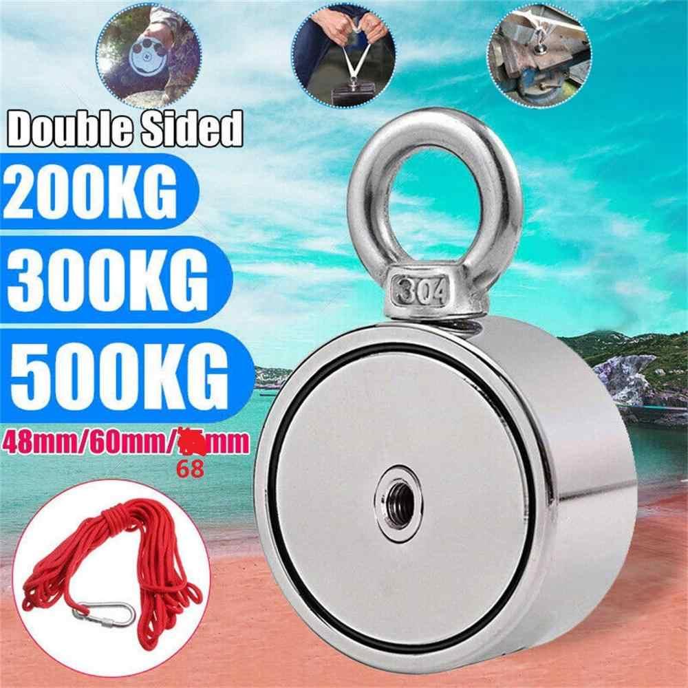 200/300/500KG Double Side Neodymium Metal Magnet Detector Fishing Kit+10M Rope NdFeB Magnets M8 Steel Plate 48/60/75mm Diameter