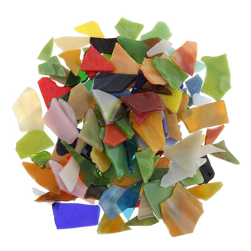200g/Pack Irregular Shape Assorted Color Glass Mosaic Tiles Tessera for Arts DIY Crafts 10-30mm
