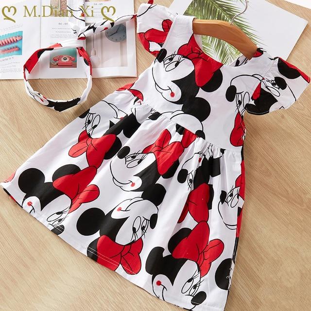 Baby Girls Clothes Summer Dress Flying Sleeve Newborn Infant Dresses Cotton Minnie Dress+Headband Toddler Dresses for Baby Girls 2