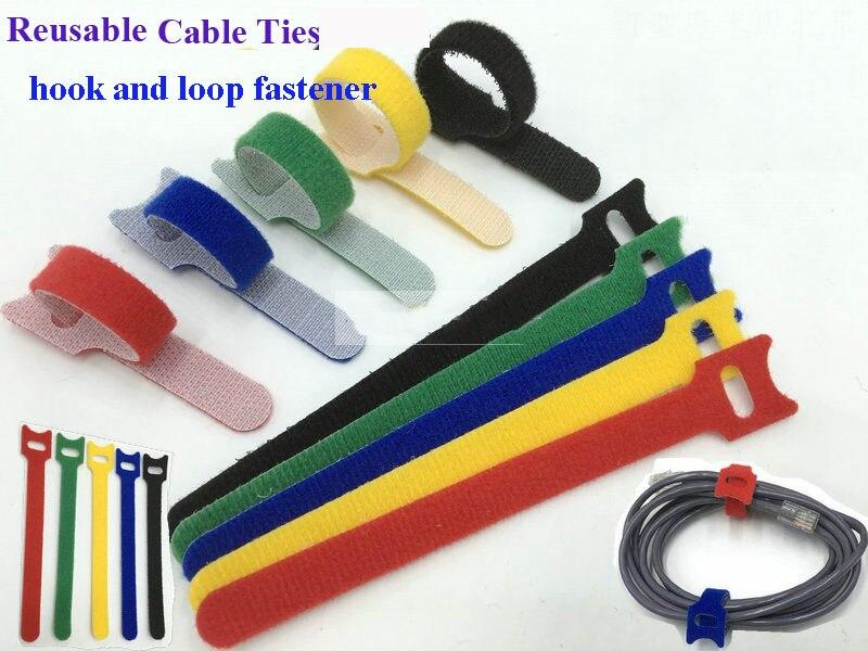 50pcs 12*200 milímetros de Nylon Abraçadeiras Reutilizáveis com Furos Ilhós de volta para trás braçadeira de cabo de nylon gancho gestão de loop fastener