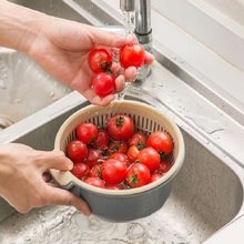 Double Drain Basket Plastic Washing Kitchen Strainer Vegetable Cleaning Colander Rice Storage Baskets