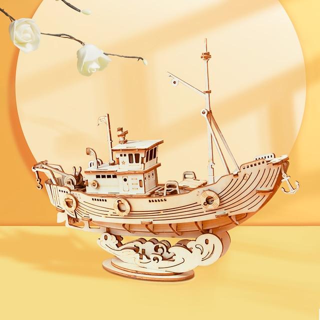Robotime 3D Wooden Puzzle Games Boat & Ship Model Toys For Children Kids Girls Birthday Gift 4