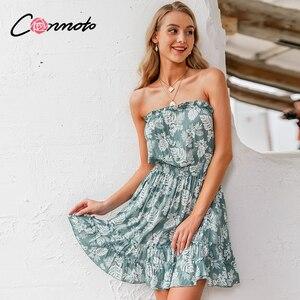 Image 4 - Conmoto ruffles beach boho dresses women strapless elastic waist dress mini floral blue print 2020 summer dress vestidos