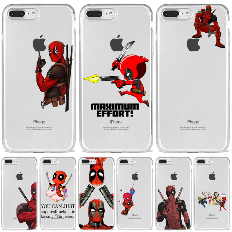 Super Cool <font><b>Marvel</b></font> Deadpool Super Hero Soft silicone <font><b>Phone</b></font> <font><b>Case</b></font> Cover For iphoneX XSMax 8 8Plus 7 7Plus 6 6S 6Plus 5 5S SE Coque image