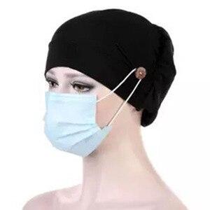 Casual Women Turban Bonnet Inner Hijabs Cap Muslim Hijab Chemo Hats Head Wrap Hat With Button Headwear Headscarf Turbantes Caps