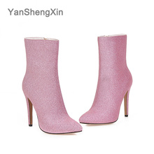 YANSHENGXIN Shoes Woman Boots Shiny High Heel Women Boots Autumn Winter Boots Pointed Toe Shoes Inner Zip Fashion Ladies Booties цена