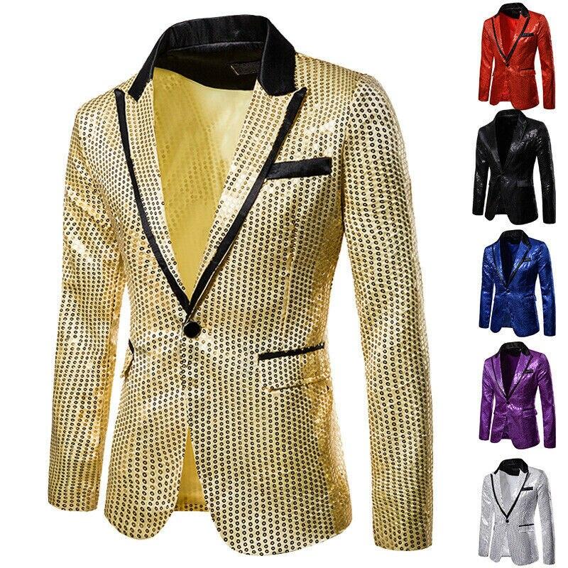 Drop Shipping Men Shining Suit One Button Blazer Coat Tops Party Cocktail Sequin Jacket Men Large Size Dance Sequin Blazer Suit