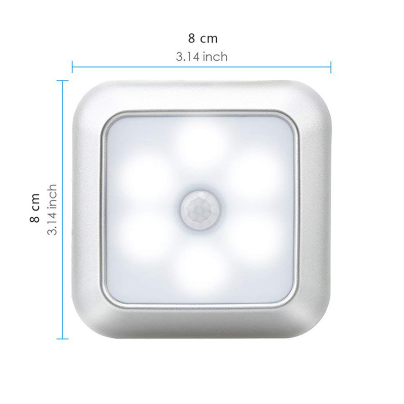 2020 New Arrivals Battery 6Led Square Motion Sensor Night Light PIR Induction Under Cabinet Lights Stairs Kitchen Closet Lamp