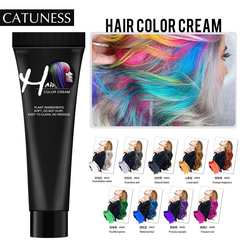 Catuness Fashion Hair Dye Permanent DIY Design Hair Color Dye Hair Color Temporary Hair Mascara No Irritation Hair Cream Dye
