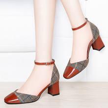Cresfimix sapatos azul moda feminina dedo do pé redondo fivela marrom cinta escritório sapatos de salto alto senhora bonito festa salto branco bombas a6898