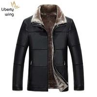 New Arrival Winter Soft PU leather Jackets Men Casual Thick Outwear Coat Mens Luxury Fleece Parka 8XL plus size