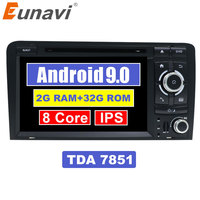 Eunavi 7'' Octa core 2 Din Android 9.0 Car DVD player Radio Stereo GPS Navi for Audi A3 S3 RS3 in dash touch screen usb wifi