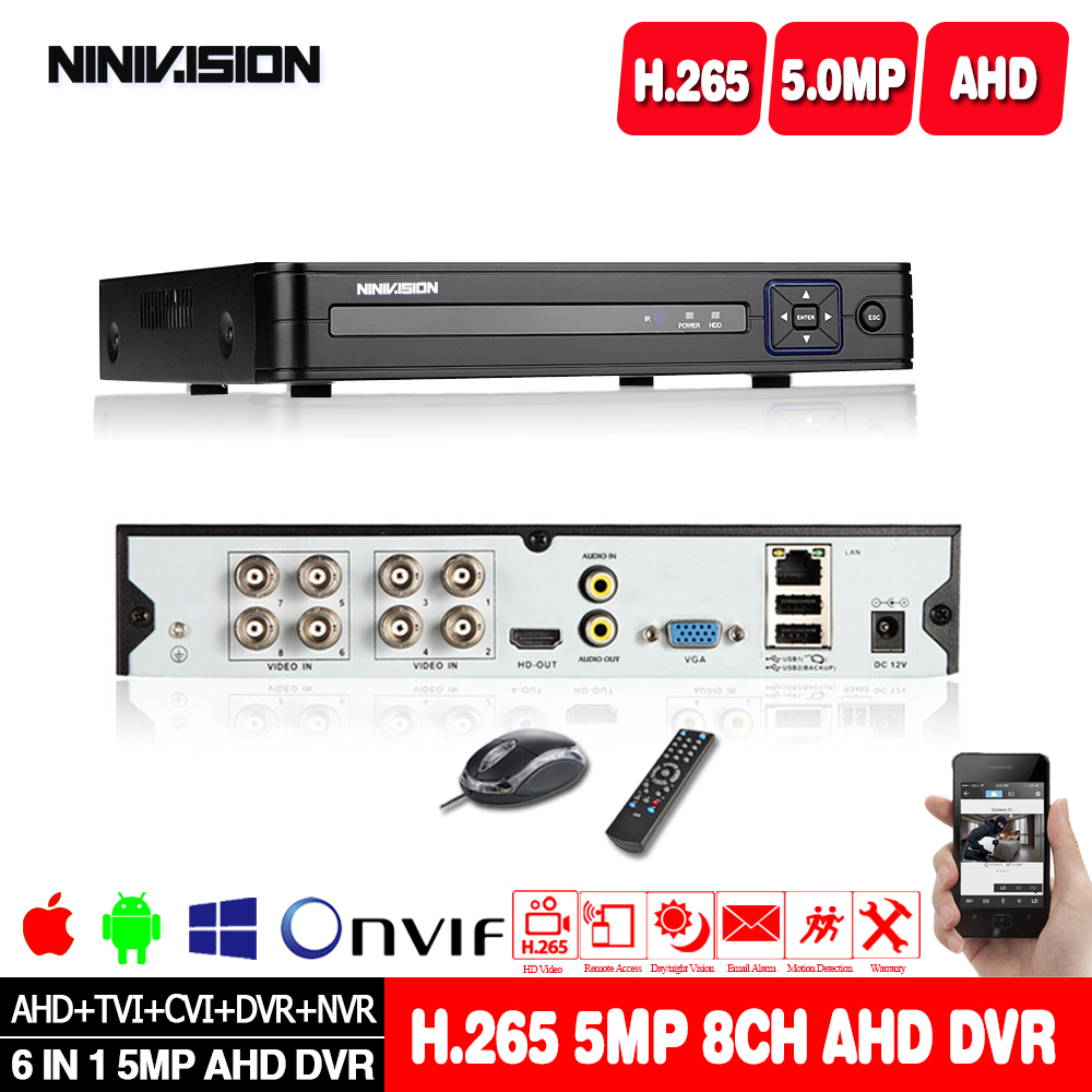 H.265 8CH 5MP DVR 16CH 1080P NVR AHD DVR Surveillance Security CCTV 3G WIFI Hybrid DVR Recorder For Analog AHD CVI TVI IP Camera