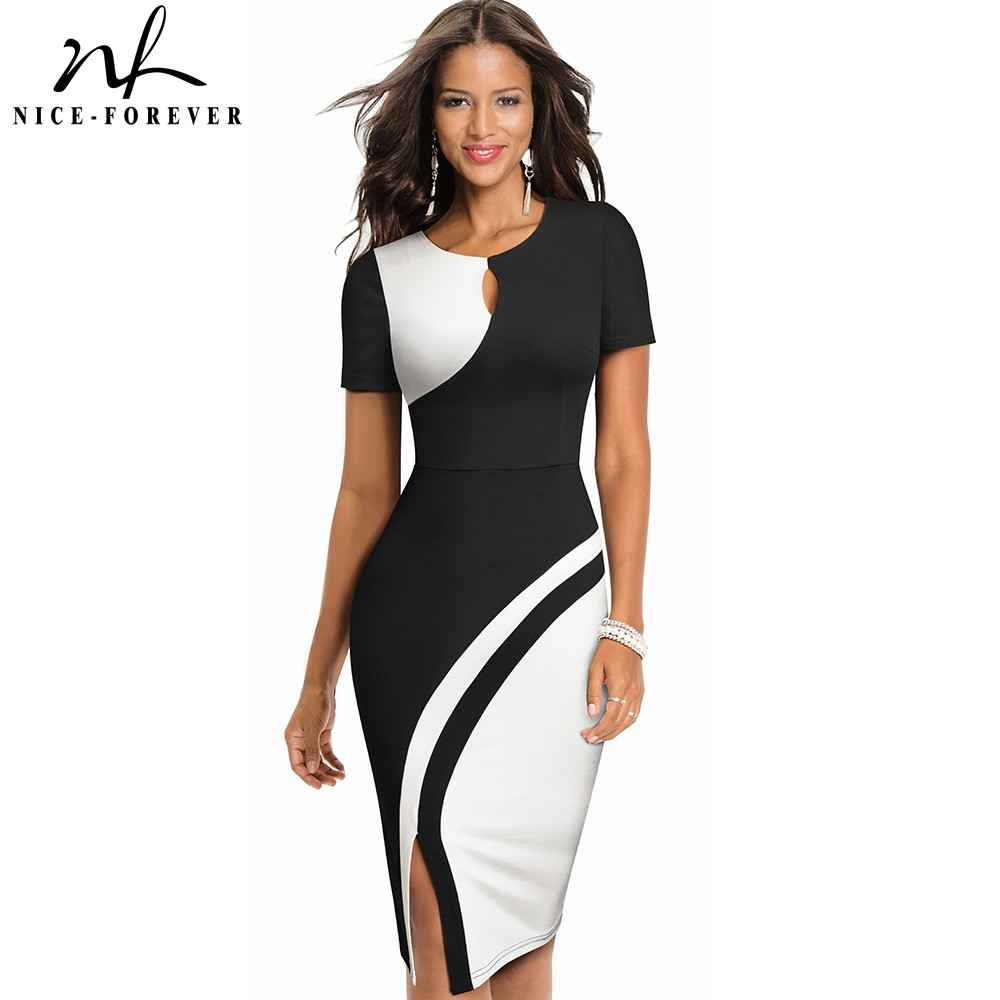 Nice-forever New Spring Elegant Stylish Contrast Color Patchwork Office Work Vestidos Business Bodycon Women Dress B571