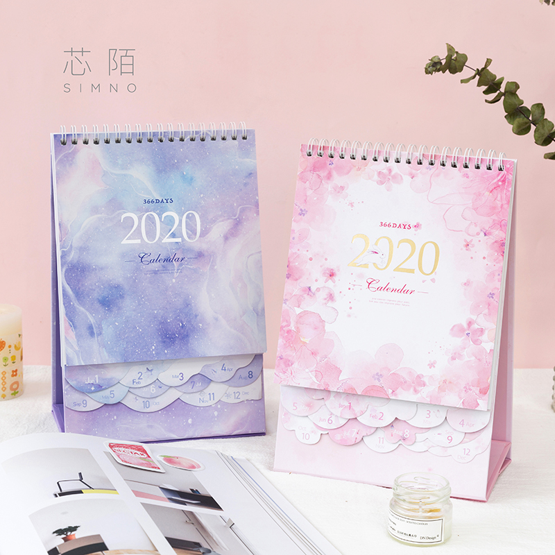 1 PCS Calendar 2020  Desk Calendar 2019-2020 Cute Calendar 2020 Planner 2020 Office Supplies Stationery Agenda Christmas Gift
