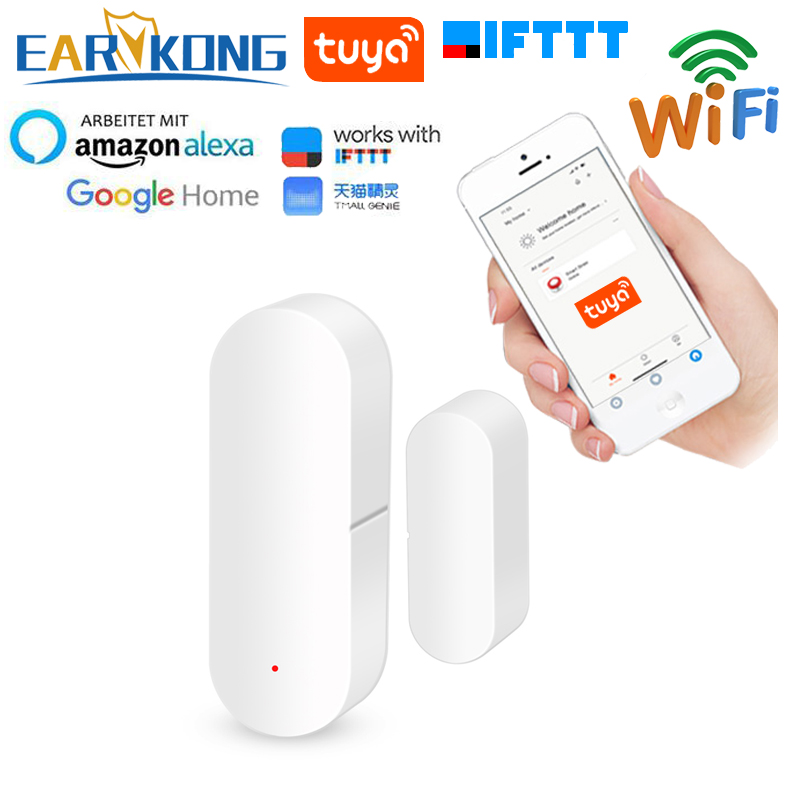 Tuya inteligente wi fi sensor de porta porta aberta/fechado detectores wi fi casa alarme compatível com alexa google casa ifttt tuya app