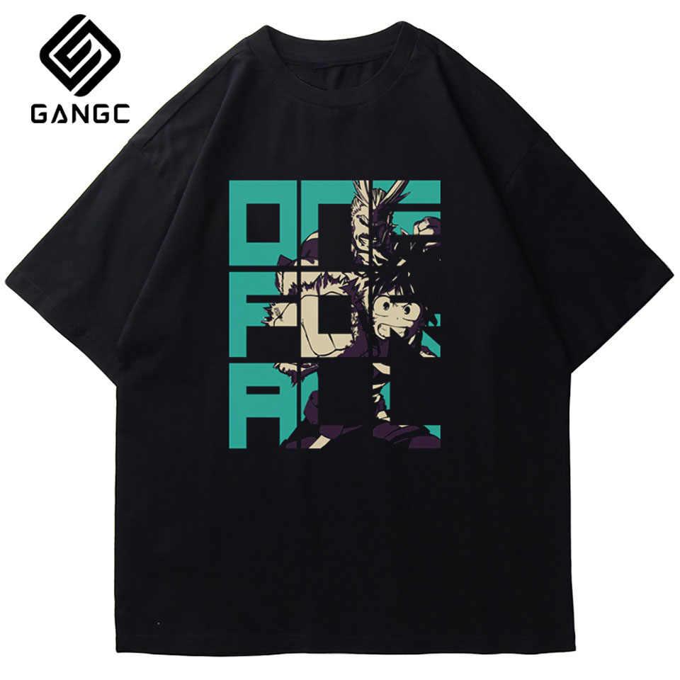 Nowość O-Neck z krótkim rękawem topy koszulki bawełniane Streetwear koszulka w stylu Vintage koszulka hiphopowa My Hero Academia