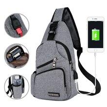 Chest Bag Men With Side Bottle Pocket Canvas Sling Bag Shoulder (USB Charge Interface) Satchel Large Crossbody Charing Bag 2019